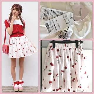[帶吊牌]Ank rouge 櫻桃 草莓 蕾絲暗紋 車里子 半裙 半身裙 半截裙 sk secret honey  liz lisa lolita cosplay