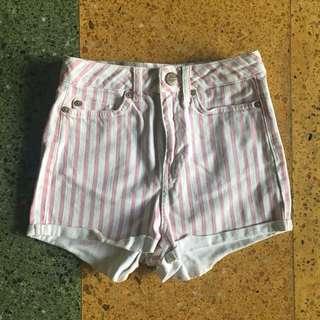 Topshop Pink Striped Shorts