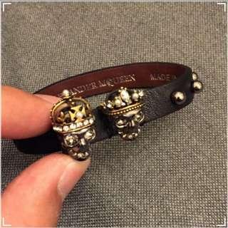ALEXANDER McQUEEN Skull Studs Leather Bracelet