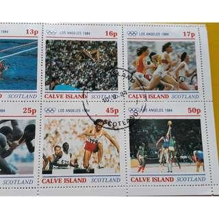 CALVE ISLAND , SCOTLAND - 1984 - Block of 8  - CTO Stamp - LOS ANGELES OLYMPICS , SPORTS