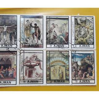AJMAN - 1972 - Block of 8  - CTO Stamp - PAINTINGS