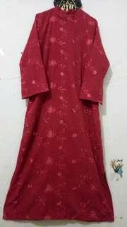 Gamis Bordir Merah Preloved