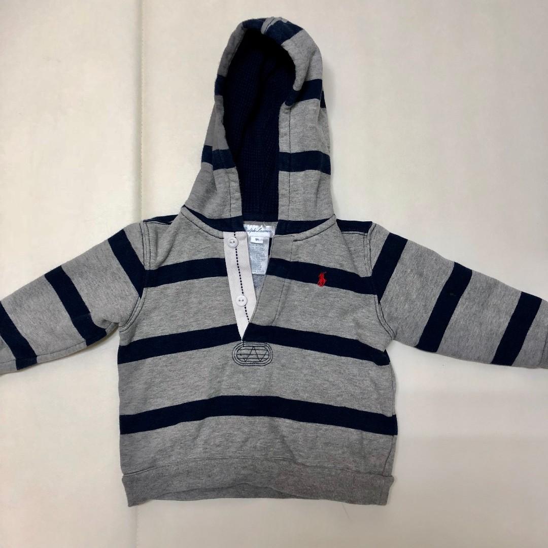 2手。(9M) Ralph Lauren 棉質灰條紋連帽T