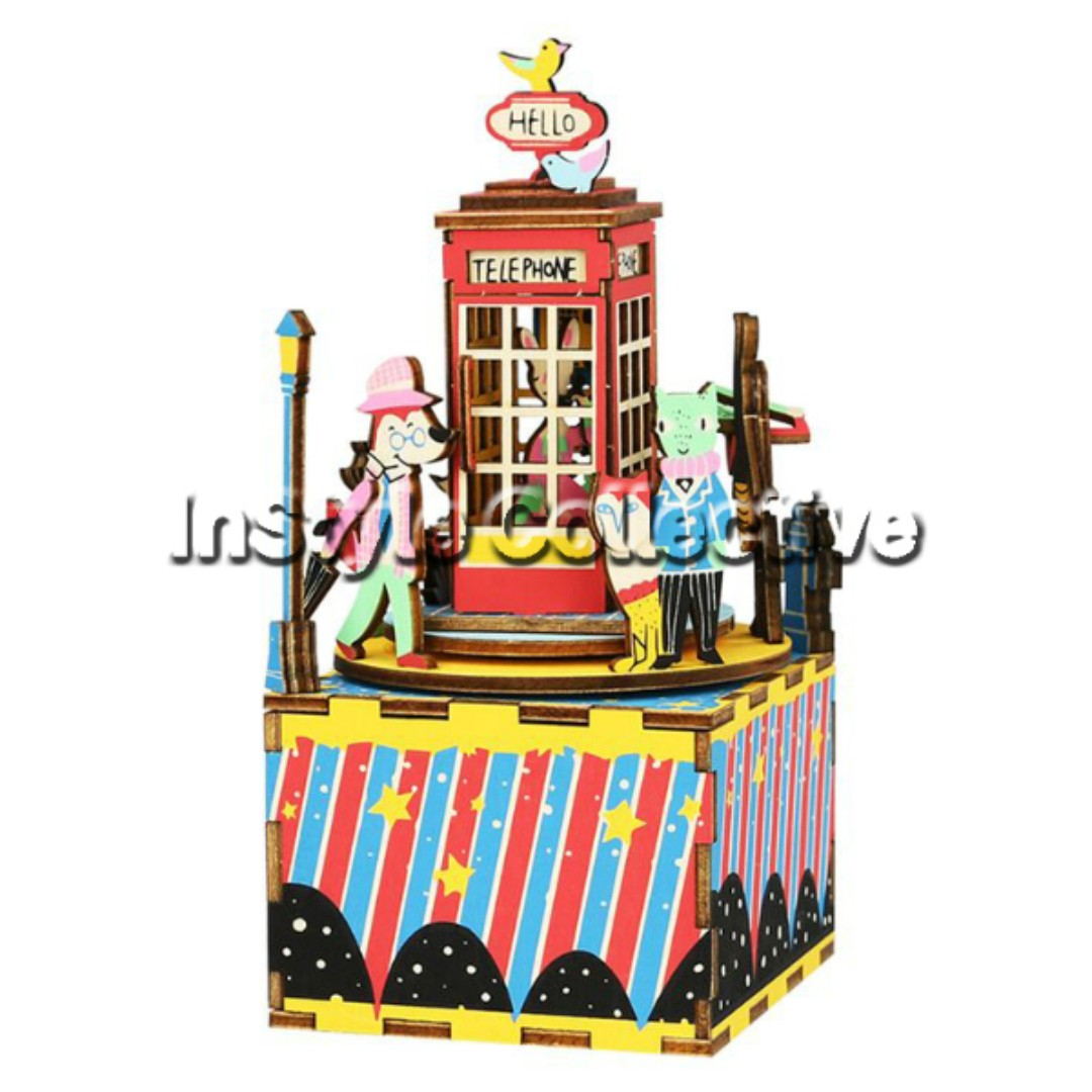 3D DIY Musical Box / Wooden Puzzle - AM401: Telephone Booth