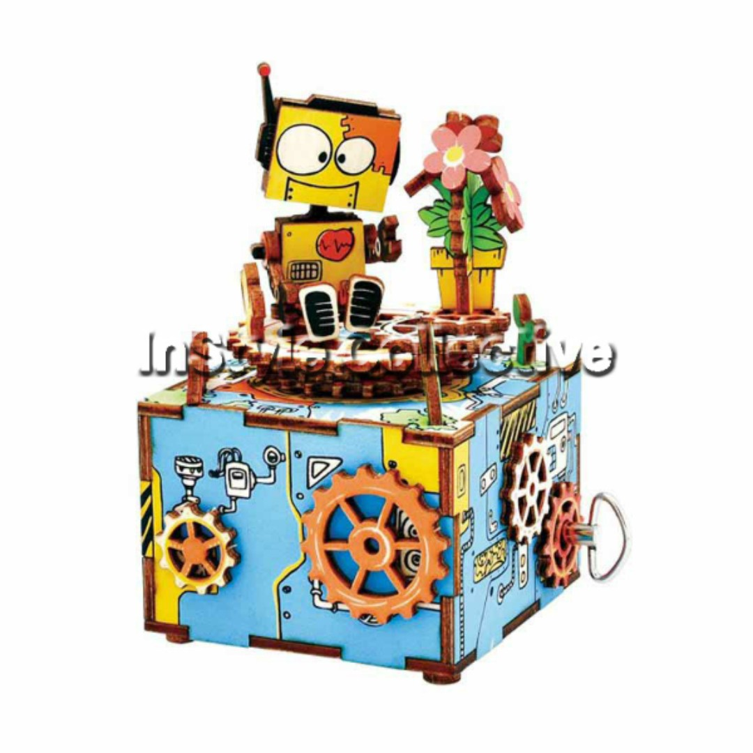 3D DIY Musical Box / Wooden Puzzle - AM305: Robot And Gears