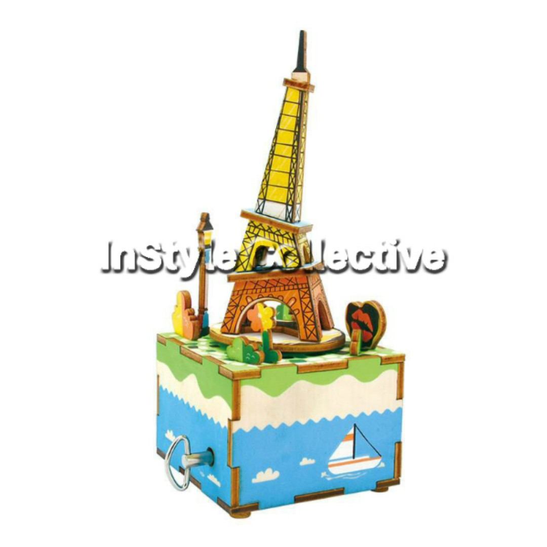 3D DIY Musical Box / Wooden Puzzle - AM308: Leaning Eiffel Tower