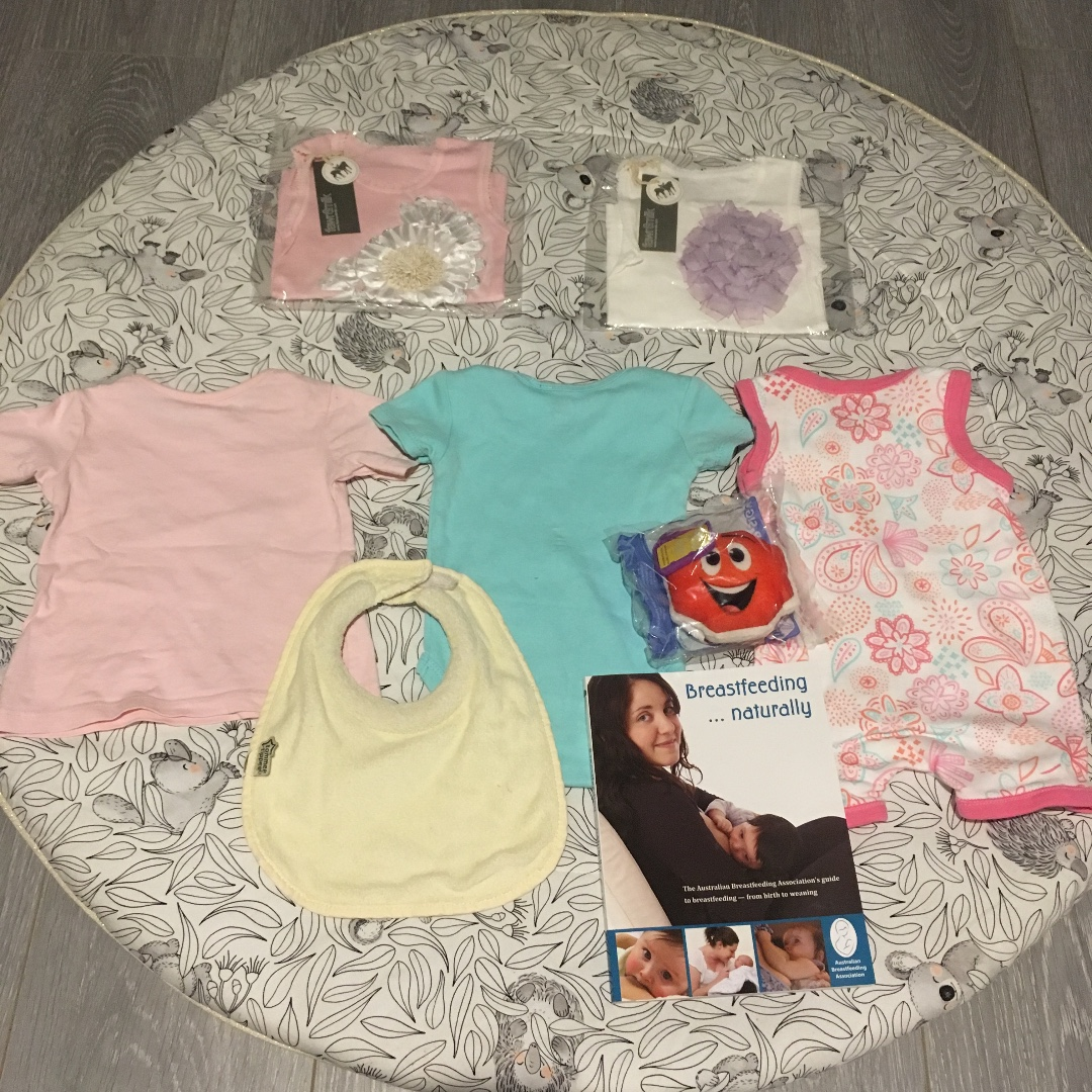 5 Piece Baby Girl Bamboo Cotton Clothes Size 00 + Pram Toy + Breastfeeding Book