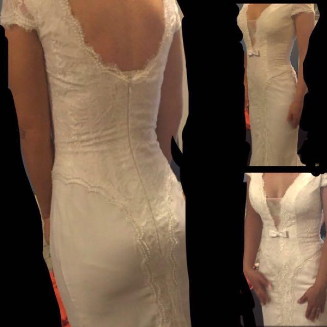 (8) NWOT formal white dress