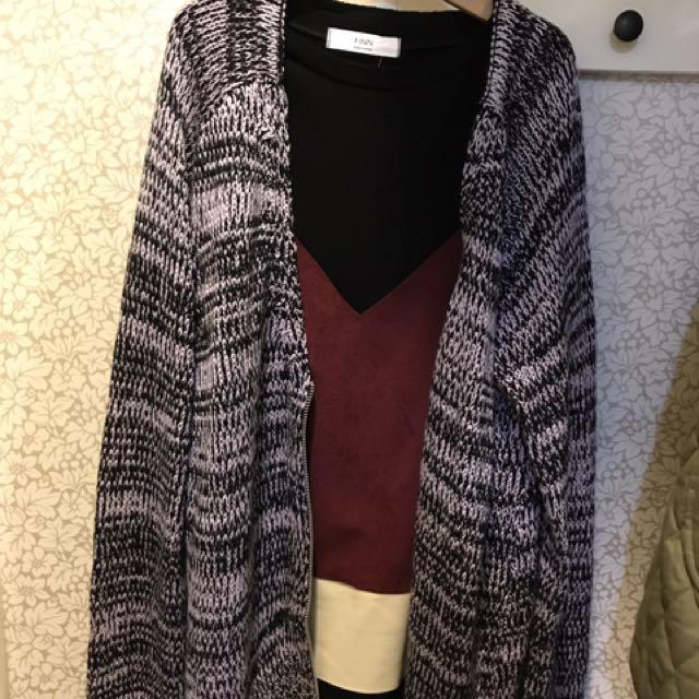 近新日牌混色針織毛衣外套