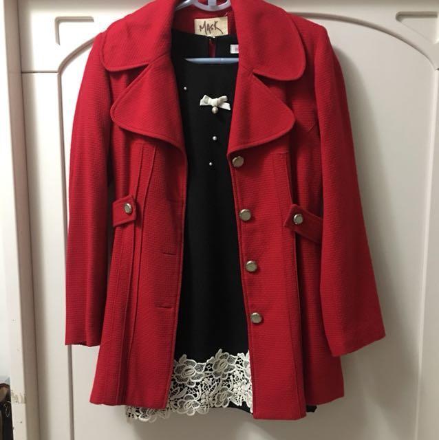 正韓秋季正紅色薄外套
