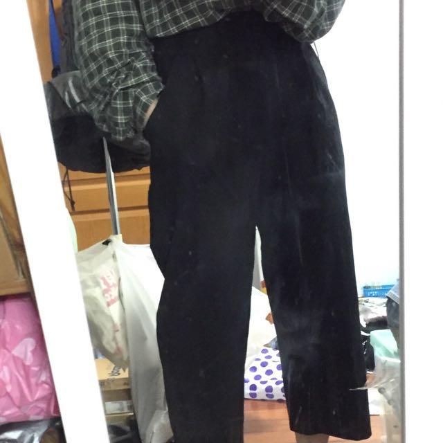高腰寬腿九分褲