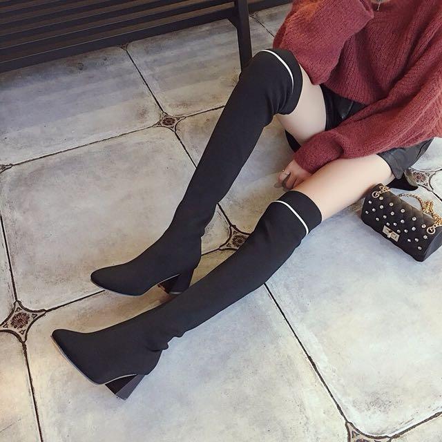顯瘦長筒過膝針織襪套襪靴彈力靴圓頭粗跟高跟 黑