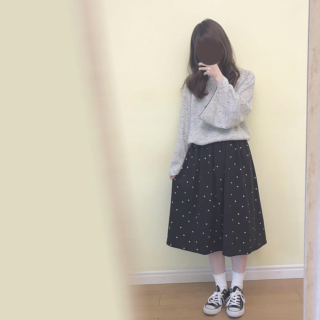 日系黑色點點半身裙 古著 古着