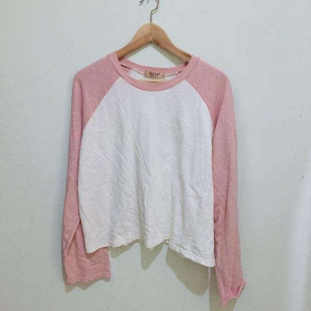 撞色 拼接 粉色 薄長袖