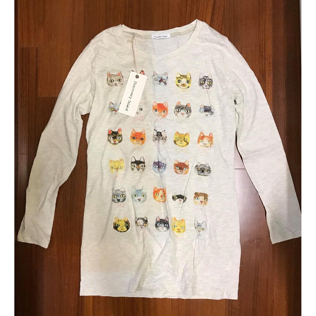 全新 好多可愛貓咪 為長版 長T shirt