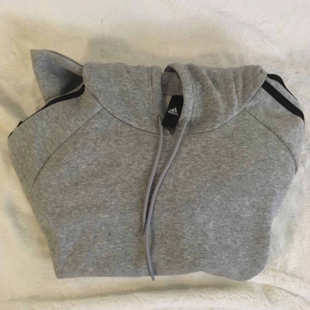 ADIDAS GREY THREE STRIPED HOODIE