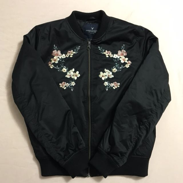 American Eagle Flower Embroidered Bomber