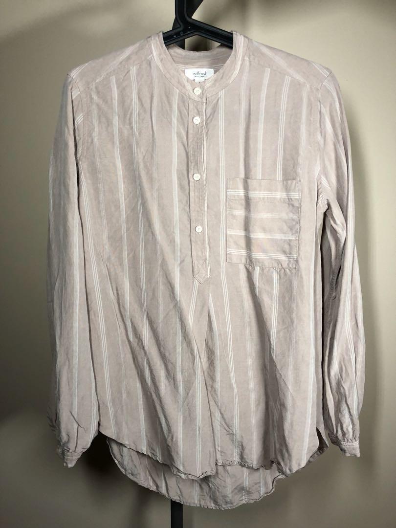 Aritzia Wilfred linen striped bell-sleeve blouse