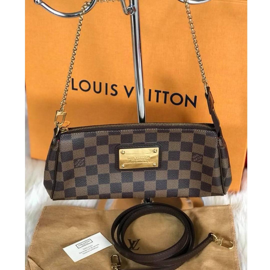 Authentic Louis Vuitton Eva Clutch Damier Ebene Women S Fashion