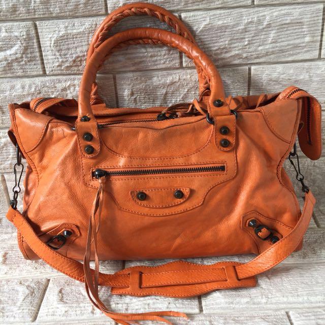 Balenciaga Motorcycle Classic City Orange Bag