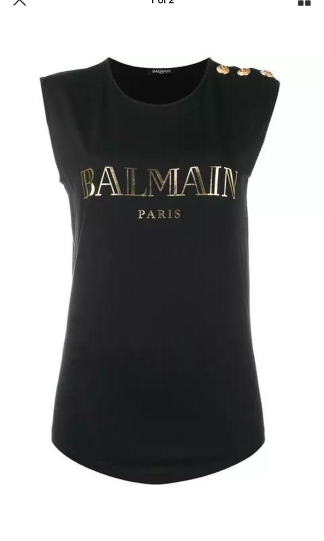 Balmain Black Logo Buttoned Tank Top