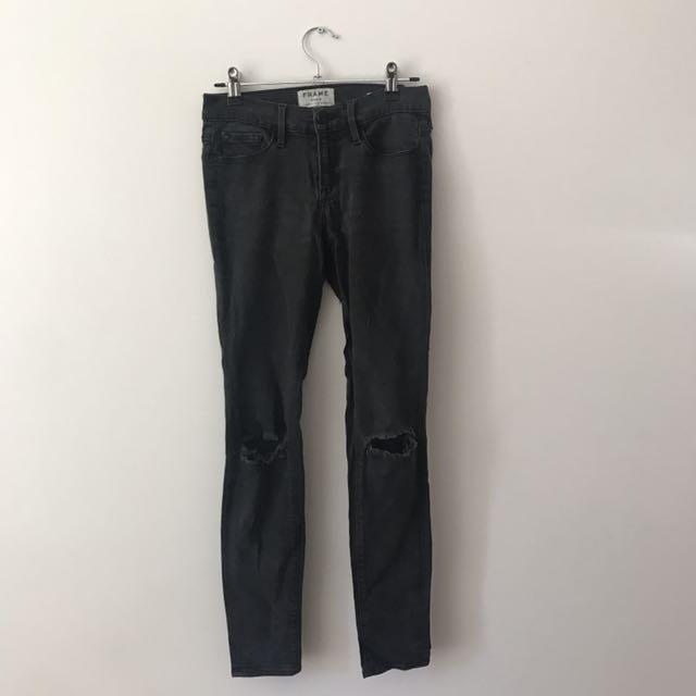 Black frame denim skinny jeans size 26