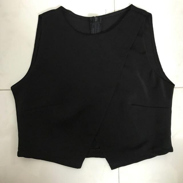 Black overlap top