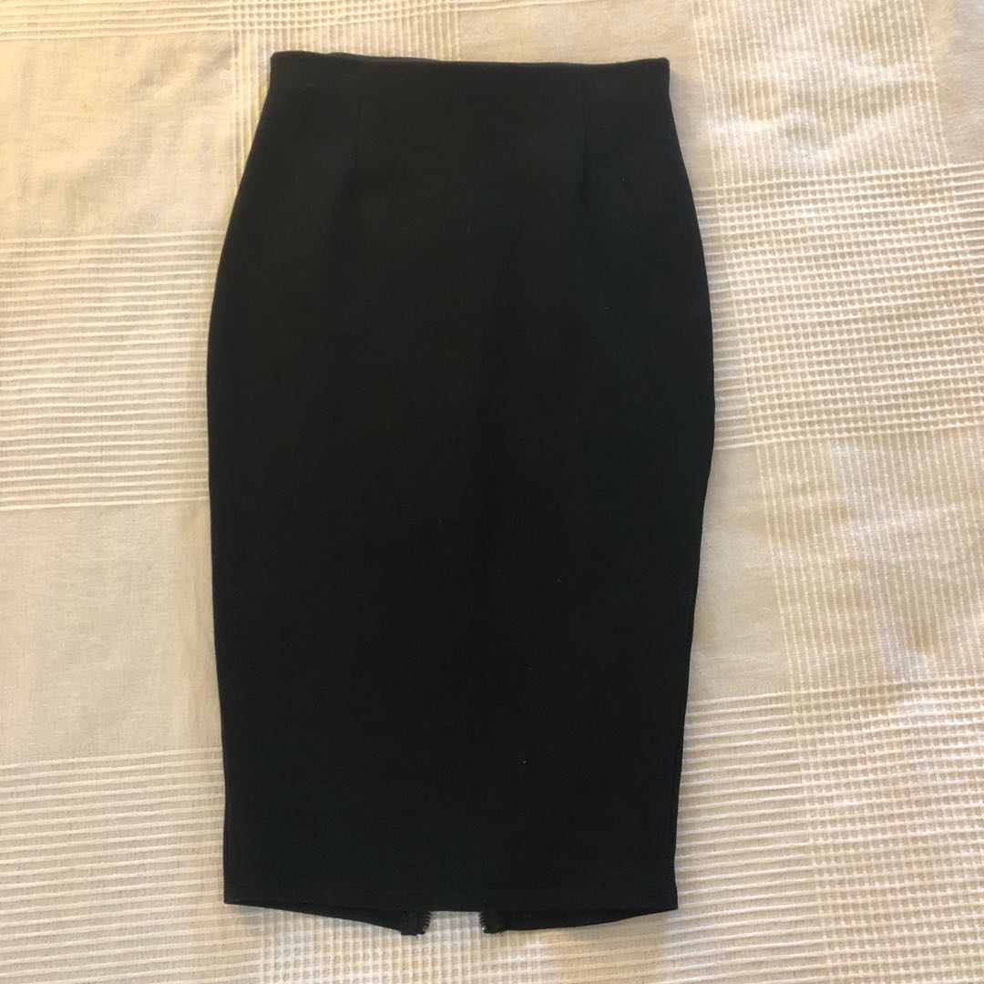 Black Stretch Pencil Skirt with Zip
