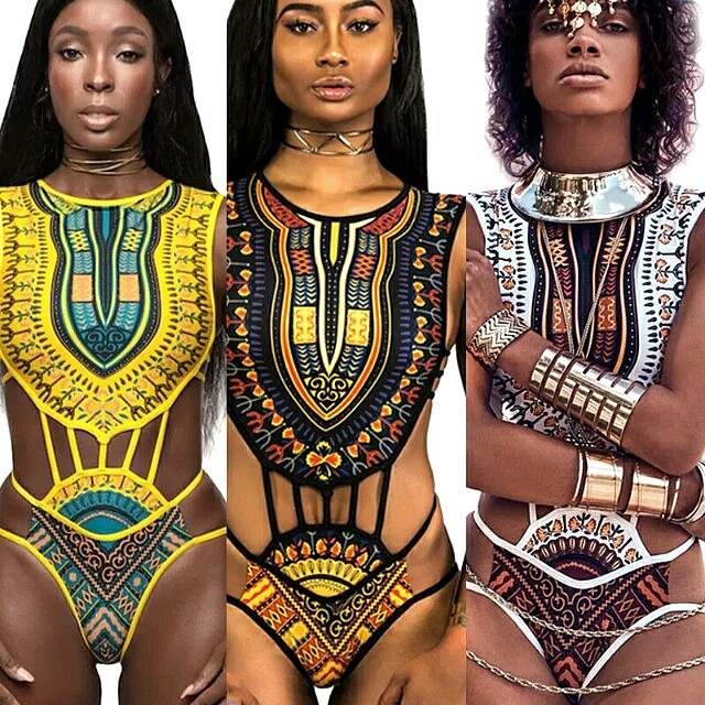 BNEW yellow tribal swimsuit