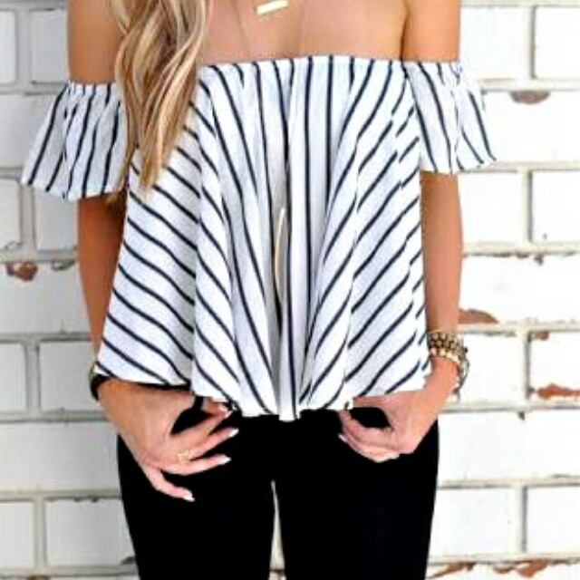 B&W Off Shoulder Top