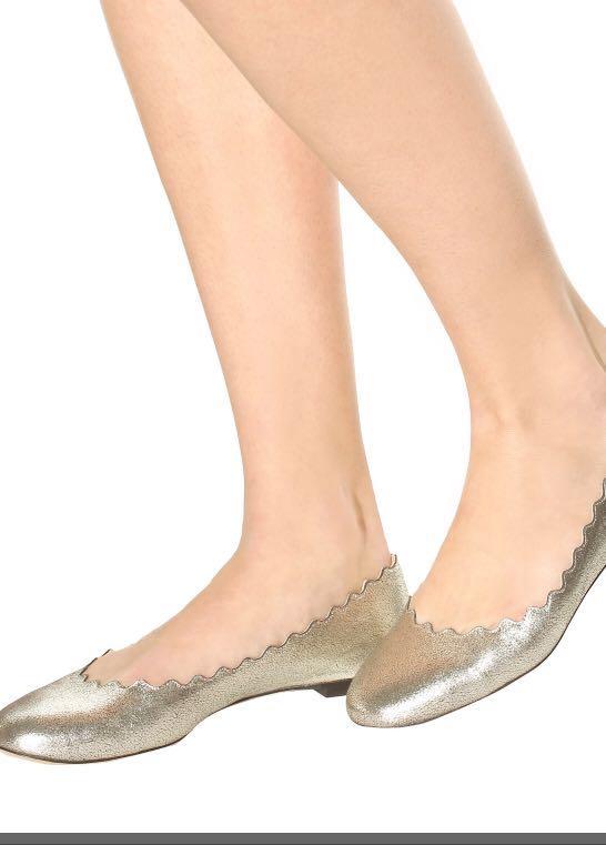 Chloe Scalloped Lauren Flats - grey glitter size 38.5