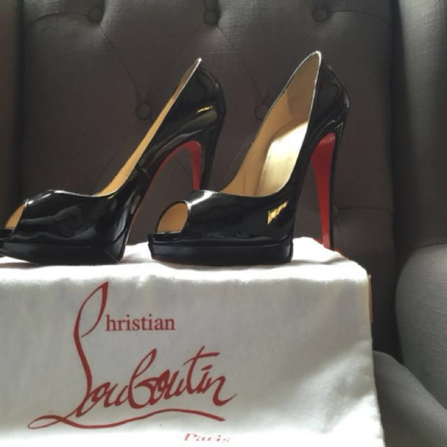 Christian Louboutin Lady Peep 150 Patent Black - Size 40.5