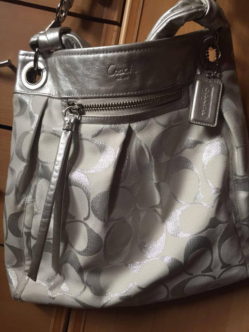 Coach bag white/ silver