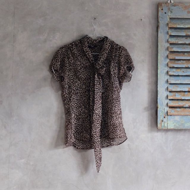 Cole brown tie sheer blouse