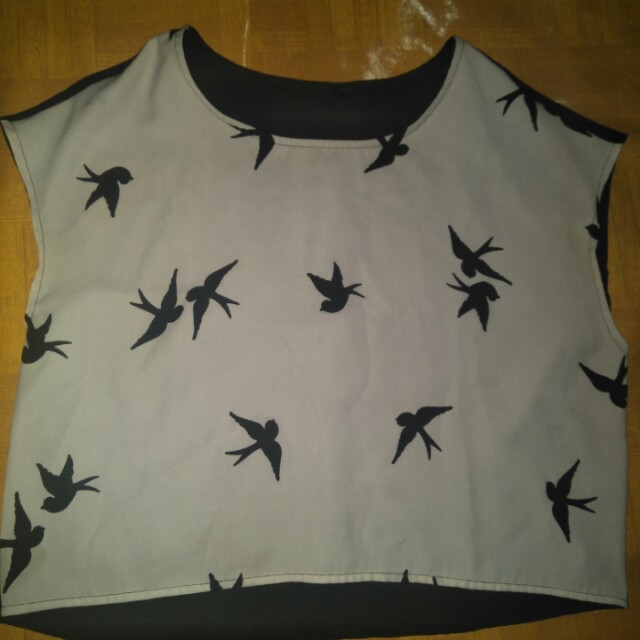 Crop tee bird h&m