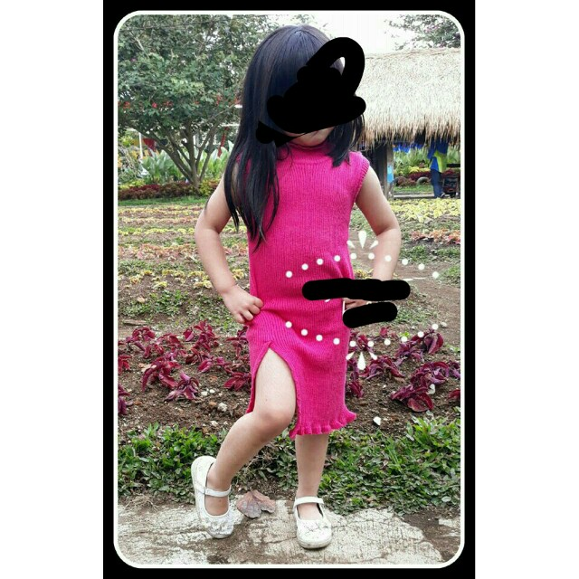 Dress knit/rajut anak turtle neck