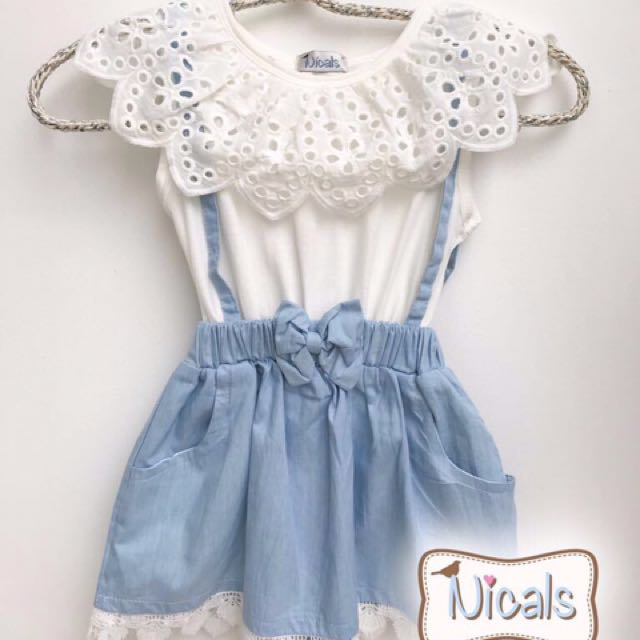 Dress white lace denim
