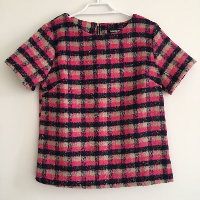 FASHION UNION Crop Top in Brush Check Pink Multi UK8