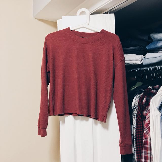 FOREVER 21 THERMAL CROP LONG SLEEVE TOP