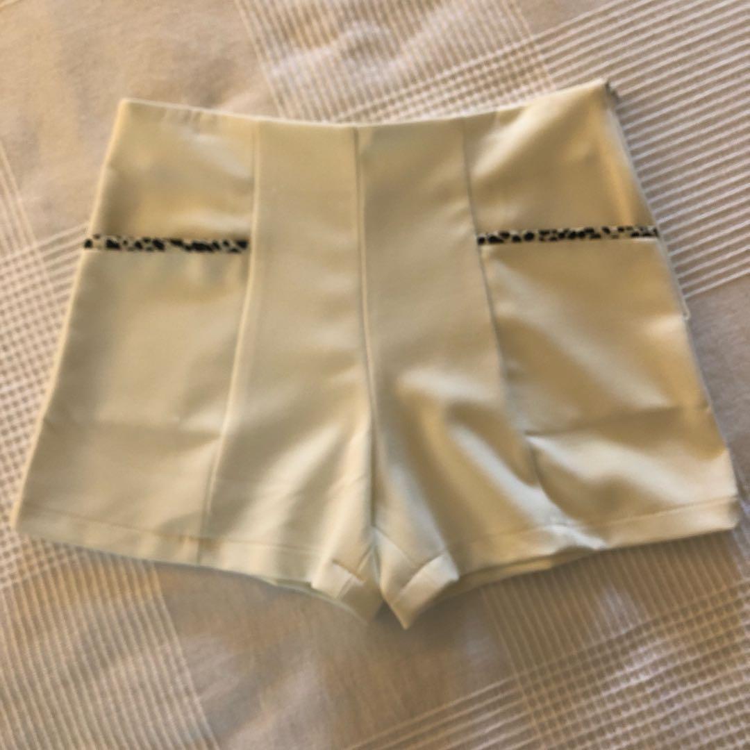 High Waisted Cream Booty Shorts