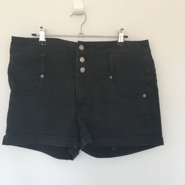 High Wasted Black Shorts Size 16