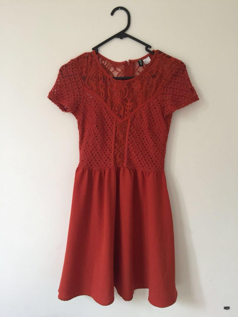 H&M orange lace dress