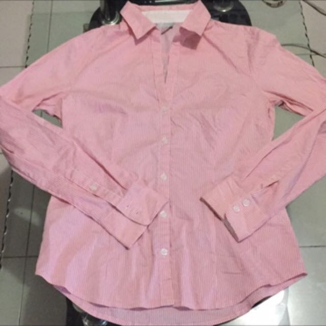 H&M pink stripes long sleeves polo