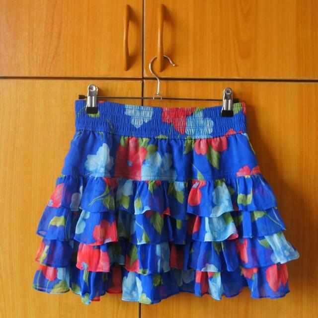 Hollister Blue Floral Skirt
