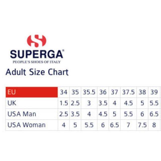 superga size guide