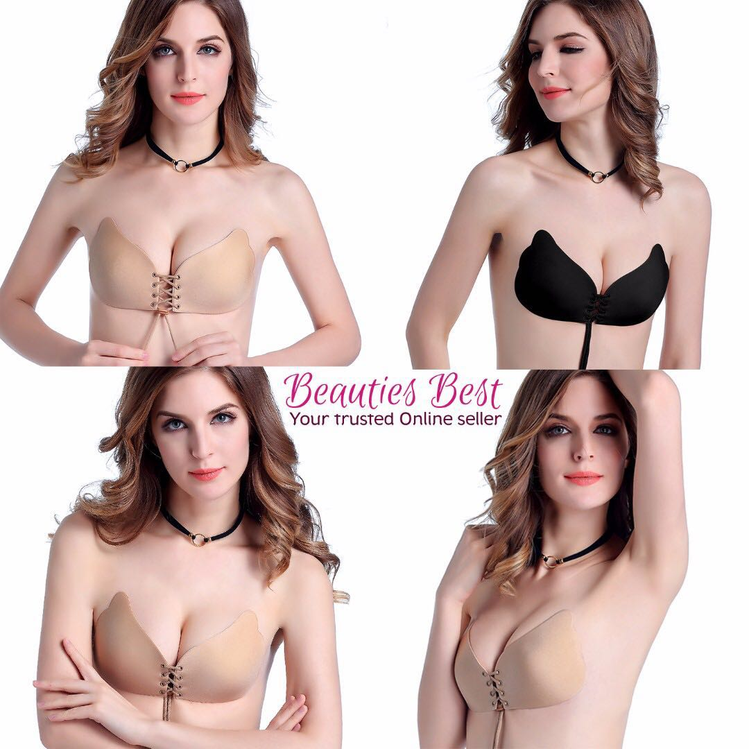 instocks! invisible adhesive push up backless butterfly bra + free