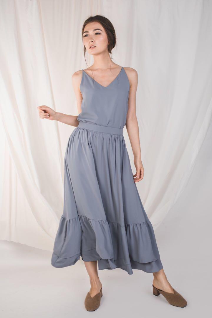 KLARRA Double Ruffle Skirt, dusty blue