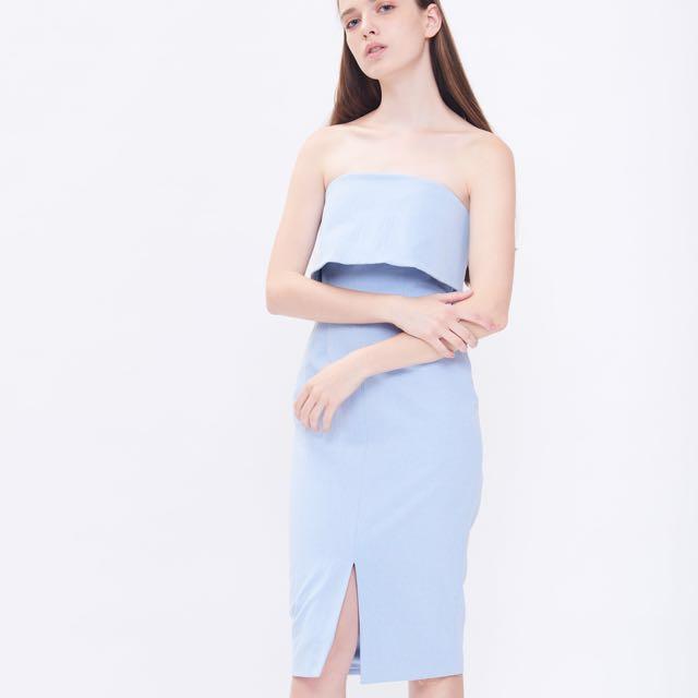 4578d21e52a2 Klarra Tube Midi Dress in Sky Blue S