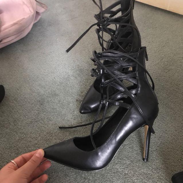 Lace up black heels