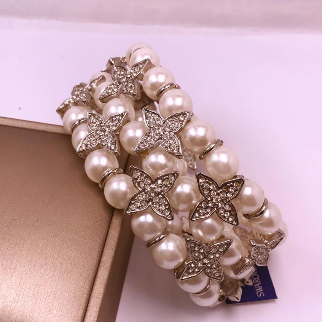 louis vuiton inspired pearl 3layer bracelet